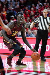 NORMAL, IL - February 02: Aher Uguak during a college basketball game between the ISU Redbirds and the University of Loyola Chicago Ramblers on February 02 2019 at Redbird Arena in Normal, IL. (Photo by Alan Look)