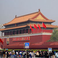 Asia, China, Beijing. Tourists at the entrance to the Forbidden City.
