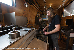 Stefan Hertel of Revival Cycles in Austin, TX during a visit after the Giddy Up Vintage Chopper Show.  Monday, March 30, 2015, photographed by Michael Lichter. ©2015 Michael Lichter