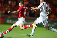 Craig Bellamy of Wales scores the 5th goal.  friendly international match, Wales v Luxembourg at the Parc y Scarlets stadium in  Llanelli on Wed 11th August 2010. pic by Andrew Orchard, Andrew Orchard sports photography,