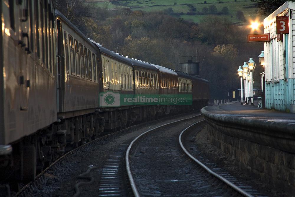 July 21, 2019 - Train At Station At Dusk, Pickering, North Yorkshire, England (Credit Image: © John Short/Design Pics via ZUMA Wire)