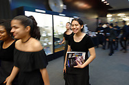Garden City, New York, U.S. June 6, 2019. Freeport High School members of Select Chorale are walking to where they will perform at Cradle of Aviation Museum during Apollo at 50 Anniversary Dinner, an Apollo astronaut tribute celebrating the Apollo 11 mission Moon landing.