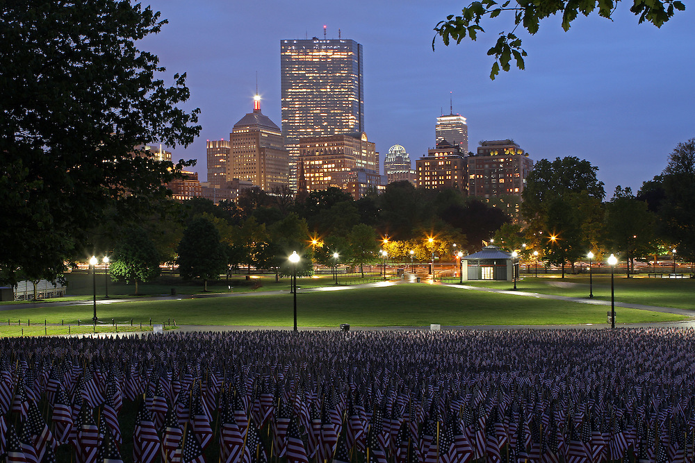 Boston photography from New England based fine art photographer Juergen Roth showing the Garden of American Flags in the Boston Common on Memorial Day. The Military Heroes Garden of American flags in Boston Common displays nearly 37,000 American flags, each flag represents the lost life of a fallen service member from Massachusetts since the Revolutionary War (1775 - 1783) to the present in 2014. Visitors are reminded of the essence of the Memorial Day holiday through this deeply moving site.<br /> <br /> This Boston photo image is available as museum quality photography prints, canvas prints, acrylic prints or metal prints. Prints may be framed and matted to the individual liking and decorating needs. <br /> <br /> http://juergen-roth.artistwebsites.com/featured/military-heroes-garden-of-american-flags-in-the-boston-common-juergen-roth.html<br /> <br /> Good light and happy photo making! <br /> <br /> My best, <br /> <br /> Juergen <br /> www.RothGalleries.com<br /> www.ExploringTheLight.com<br /> http://whereintheworldisjuergen.blogspot.com<br /> @NatureFineArt <br /> https://www.facebook.com/naturefineart