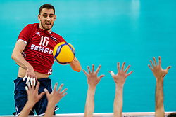 Leo Andric of Croatia in action during the CEV Eurovolley 2021 Qualifiers between Sweden and Croatia at Topsporthall Omnisport on May 15, 2021 in Apeldoorn, Netherlands
