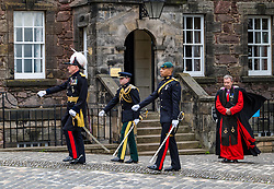 Installation of Edinburgh Castle Govenor, Edinburgh Castle, Edinburgh, Scotland, United Kingdom 23  June 2021: <br /> Installation as Governor of Edinburgh Castle: the dress rehearsal takes place for the ceremony which will be held tomorrow, two years after the handover of the position to Maj Gen Alastair Bruce of Crionaich.  The ceremony was delayed due to Covid-19. The role of Governor is a historic one, dating back to 1067. Maj Gen Bruce is also a Sky News commentator. Representative form all Scottish military regiments are involved, in a ceremony that takes a new curtailed form only within the castle due to Covid restrictions. Pictured: the new Governor leaves the Governor's House. <br /> Sally Anderson | EdinburghElitemedia.co.uk