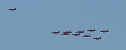 Red Arrows fly past, Edinburgh 24 August 2020; The Red Arrows fly over the River Forth heading towards Edinburgh<br /> <br /> (c) Chris McCluskie | Edinburgh Elite media