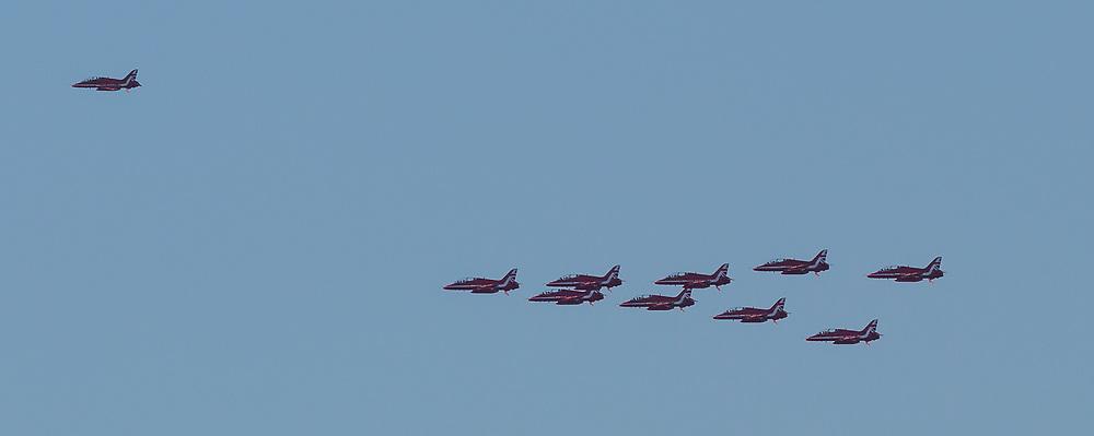 Red Arrows fly past, Edinburgh 24 August 2020; The Red Arrows fly over the River Forth heading towards Edinburgh<br /> <br /> (c) Chris McCluskie   Edinburgh Elite media