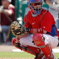 February 24, 2011; Clearwater, FL, USA; Philadelphia Phillies catcher Brian Schneider (23) during a spring training exhibition game against the Florida State Seminoles at Bright House Networks Field. Mandatory Credit: Derick E. Hingle