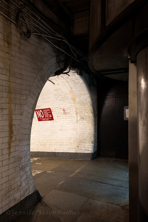 Entrance to the Greenwich Foot Tunnel, London, England.