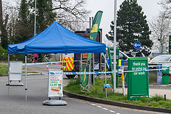 © Licensed to London News Pictures. 01/04/2021. Reading, UK. A canopy at the crime scene on Chalfont Way, Lower Earley, Reading following a serious incident of assault outside a BP petrol station which occurred at approximately 7:40pm on Wednesday 31/03/2021, a 51-year-old man was taken to the Royal Berkshire Hospital in a critical condition with life-threatening injuries. Photo credit: Peter Manning/LNP