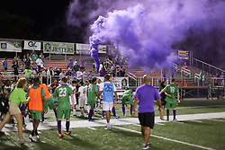 07 May 2016. New Orleans, Louisiana.<br /> NPSL Soccer, Pan American Stadium.<br /> The Royal Court let off purple smoke following the New Orleans Jesters v Houston Hurricanes game. Jesters win 3-0. <br /> Photo; Charlie Varley/varleypix.com