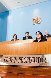 Clerk of the Court sits in front of Magistrates in Sheffield