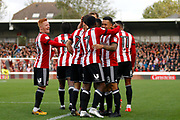 Brentford players celebrate a goal fro Brentford Midfielder Nico Yennaris (8) (score 1-0) during the EFL Sky Bet Championship match between Brentford and Sunderland at Griffin Park, London, England on 21 October 2017. Photo by Andy Walter.