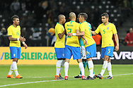 Brazil players celebrate after winning the International Friendly Game football match between Germany and Brazil on march 27, 2018 at Olympic stadium in Berlin, Germany - Photo Laurent Lairys / ProSportsImages / DPPI