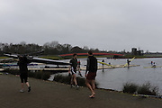 Eton, GREAT BRITAIN,  GV, General View, Scullers prepare to boat, GB Trials 3rd Winter assessment at,  Eton Rowing Centre, venue for the 2012 Olympic Rowing Regatta, Trials cut short due to weather conditions forecast for the second day Saturday  12/02/2011   [Photo, Peter Spurrier/Intersport-images]Eton, GREAT BRITAIN,  GB Trials 3rd Winter assessment at,  .Dorney Lake