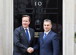 © Licensed to London News Pictures. 09/10/2013. London, UK. The British Prime Minister David Cameron is seen meeting his Hungarian counterpart, Viktor Orban, on Downing Street in London today (09/10/2013). Photo credit: Matt Cetti-Roberts/LNP