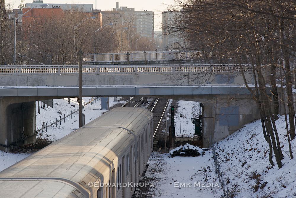 Toronto Yonge line subway leaving Eglinton Station heading south toward downtown.