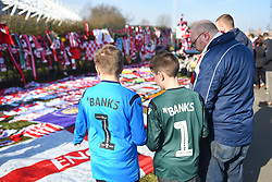 February 23, 2019 - Stoke On Trent, England, United Kingdom - Young Stoke supporters with Gordon Banks shirts during the Sky Bet Championship match between Stoke City and Aston Villa at the Britannia Stadium, Stoke-on-Trent on Saturday 23rd February 2019. (Credit Image: © Mi News/NurPhoto via ZUMA Press)