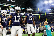 Penn State Nittany Lions captains punter Blake Gillikin (93) safety Garrett Taylor (17) outside linebacker Cam Brown (6) walk onto the field during the game of the NCAA Cotton Bowl Classic football game against the Memphis Tigers, Saturday, Dec. 28, 2019 at AT&T Stadium in Arlington, Texas. Penn State defeated Memphis 53-39. (Mario Terrana/Image of Sport)