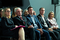 © Licensed to London News Pictures . 02/09/2019. Salford , UK. REBECCA LONG-BAILEY , JOHN MCDONNELL , ANDY BURNHAM and STEVE ROTHERHAM listen to Jeremy Corbyn's speech . Members of the shadow cabinet and regional devolved mayors attend a speech and Q&A by Labour Party leader Jeremy Corbyn at The Landing Media City in Salford . Photo credit: Joel Goodman/LNP