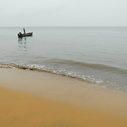 Boats returning from the sea at small fishing village outside São Tomé village.