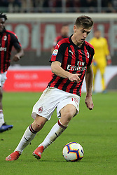 March 2, 2019 - Milan, Milan, Italy - Krzysztof Piatek #19 of AC Milan in action during the serie A match between AC Milan and US Sassuolo at Stadio Giuseppe Meazza on March 02, 2019 in Milan, Italy. (Credit Image: © Giuseppe Cottini/NurPhoto via ZUMA Press)