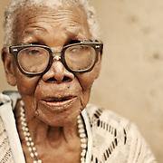 African elderly woman wearing glasses