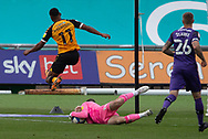 Tranmere Rover's Goalkeeper Joe Murphy (13) saves from Newport County's Tristan Abrahams (11) during the EFL Sky Bet League 2 match between Newport County and Tranmere Rovers at Rodney Parade, Newport, Wales on 17 October 2020.