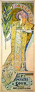 Alphonse Marie Mucha, 1860-1939. French graphic artist . Art nouveau poster showing actress Sarah Bernhardt holding palm frond