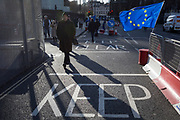 Two days before Brexit Day (the date of 31st January 2020, when the UK legally exits the European Union), an EU flag flutters outside the entrance to parliament, in Parliament Square, Westminster, on 29th January 2020, in London, England.