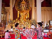 24 JUNE 2011 - CHIANG MAI, THAILAND: People leave on an offering in a replica of a Bodhi tree at Wat Phra Singh in Chiang Mai, Thailand. Wat Phra Singh is the most revered Buddhist temple in Chiang Mai because it houses the Phra Singh (Lion Buddha). The exact origin of the Buddha is unknown though it is known to have resided in Buddhist temples in Sukothai, Ayuthaya, Chiang Rai and Luang Prabang before coming to Chiang Mai in approximately 1360.  PHOTO BY JACK KURTZ