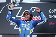 MotoGP race winner #42 Alex Rins, Spanish: Team Suzuki Ecstar during the GoPro British MotoGP at Silverstone, Towcester, United Kingdom on 25 August 2019.