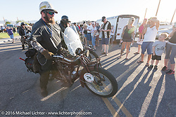 Clint Funderburg on his 1916 Indian, which was one of many bikes on display in downtown Lake Havasu City, Arizona where their Convention and Visitors Bureau hosted a dinner for the riders during the Motorcycle Cannonball Race of the Century. Stage-13 ride from Williams, AZ to Lake Havasu City, AZ. USA. Friday September 23, 2016. Photography ©2016 Michael Lichter.