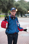 Brian Eyre, a Dallas based author, wouldn't tell me who he voted for but wanted to be clear that it wasn't Trump outside a polling location in Dallas, Texas on November 8, 2016. He said our country needs to be fixed but he's convinced Trump isn't the one to do it. (Cooper Neill for The Texas Tribune)