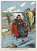 Canute (Sveinsson Knut) d1035. King of England from 1016, Denmark from 1018, Norway from 1030, demonstrating to flattering courtiers that God alone can command the tides. Early 20th century illustration