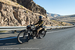 Shinya Kimura riding his Team 80 1915 Indian Twin during Stage 15 (244 miles) of the Motorcycle Cannonball Cross-Country Endurance Run, which on this day ran from Lewiston, Idaho to Yakima, WA, USA. Saturday, September 20, 2014.  Photography ©2014 Michael Lichter.