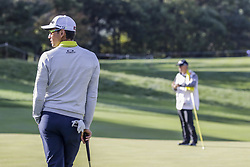 October 22, 2017 - Seogwipo, Jeju Island, South Korea - October 22, 2017-Seogwipo, Jeju Island, South Korea-Rafa Cabrera Ballo of Spain wait for play chance  on the 2th hole during an PGA TOUR CJ CUP NINE BRIDGE DAY 4 at Nine Bridge CC in Jeju Island, South Korea. (Credit Image: © Ryu Seung Il via ZUMA Wire)