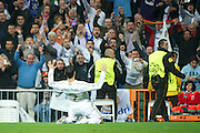 Champions League semi final second leg soccer match between Real Madrid and FC Bayern Munich at the Santiago Bernabeu stadium in Spain - <br /> MADRID 25/04/2012<br /> ESTADIO SANTIAGO BERNABEU.<br /> half final, Halbfinale, Semifinale,  CHAMPIONS LEAGUE<br /> REAL MADRID 2 - BAYERN 1<br /> picture: CRISTIANO RONALDO celebra el gol.- fee liable image, copyright © ATP QUEEN INTERNACIONAL<br /> <br /> Real MADRID vs Fc BAYERN Match 2:1 und 3:1 im Elfmeterschieflen - and 3:1 in penalty shooting - Queen photographer Fernando ALVAREZ