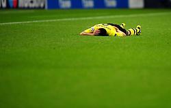 Borussia Dortmund's Ilkay Gundogan awaits attention from medical staff - Photo mandatory by-line: Joe Meredith/JMP  - Tel: Mobile:07966 386802 03/10/2012 - Manchester City v Borussia Dortmund - SPORT - FOOTBALL - Champions League -  Manchester   - Etihad Stadium -