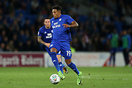Nathaniel Mendez-Laing  of Cardiff city in action. Carabao Cup, 1st round match, Cardiff city v Portsmouth at the Cardiff city Stadium in Cardiff, South Wales on Tuesday August 8th 2017.<br /> pic by Andrew Orchard, Andrew Orchard sports photography.