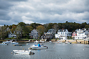 Boats moored in the harbour at Manchester-by-the-Sea. Massachusetts, USA
