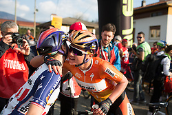 Megan Guarnier greets Chantal Blaak (both Boels-Dolmans Cycling Team) after finishing second in the Trofeo Alfredo Binda - a 123.3km road race from Gavirate to Cittiglio on March 20th 2016.