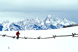 WY: Grand Teton National Park, Wyoming; Snowshoeing, model released          .Photo Copyright: Lee Foster, lee@fostertravel.com, www.fostertravel.com, (510) 549-2202.Image: wygran220