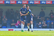 Southend United defender John White (48) scores a goal and celebrates 3-1 during the EFL Sky Bet League 1 match between Southend United and Burton Albion at Roots Hall, Southend, England on 22 April 2019.