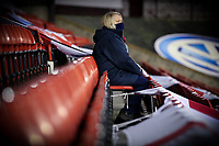 A member of the Barnsley team watches on from the stand during the warm up<br /> <br /> Photographer Alex Dodd/CameraSport<br /> <br /> The EFL Sky Bet Championship - Barnsley v Preston North End - Tuesday 15th December 2020 - Oakwell - Barnsley<br /> <br /> World Copyright © 2020 CameraSport. All rights reserved. 43 Linden Ave. Countesthorpe. Leicester. England. LE8 5PG - Tel: +44 (0) 116 277 4147 - admin@camerasport.com - www.camerasport.com