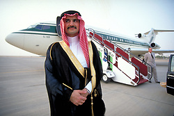 File picture dated of 1994 of Saudi Prince Alwaleed Bin Talal, next to his first private jet (a Boeing 727) as Airbus announces that Saudi prince and billionaire prince Alwaleed Bin Talal Bin Abdulaziz Al Saud placed an order for an Airbus-A380, few months ago, which will make this the largest private jet in the world in Dubai, United Arab Emirates on November 12, 2007. With a surface of 900 square meters, the giant aircraft is designed for up to 830 passengers... 'Catalogue price' is around 300 million dollars, and between 50 to 150 other millions for interior design... Photo by ABACAPRESS.COM  | 137180_07 Dubai Emirats Arabes Unis United Arab Emirates