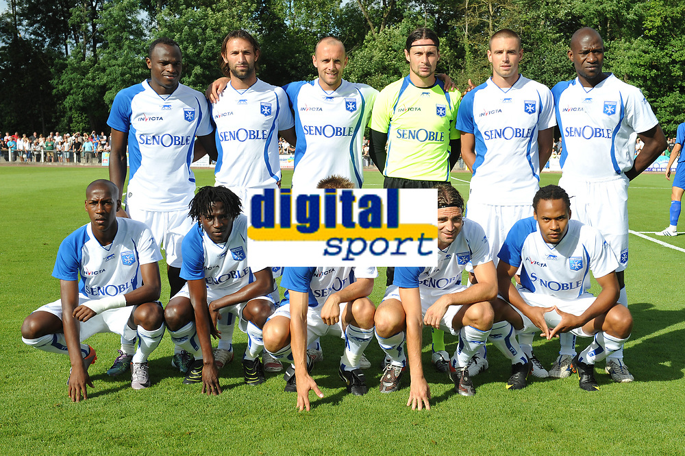 FOOTBALL - FRIENDLY GAMES 2010/2011 - AJ AUXERRE v ES TROYES - 17/07/2010 - PHOTO GUY JEFFROY / DPPI - AUXERRE TEAM : BACK ROW LEFT TO RIGHT : DENNIS OLIECH / CEDRIC HENGBART / JEAN PASCAL MIGNOT / OLIVIER SORIN / ANTHONY LE TALLEC / ADAMA COULIBALY . FRONT ROW : STEVEN LANGIL / DELVIN N'DINGA / BENOIT PEDRETTI / JEREMY BERTHOD / ROY CONTOUT .