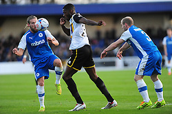 Bristol Rovers' Nathan Blissett is challenged by Chester's Gareth Roberts - Photo mandatory by-line: Neil Brookman/JMP - Mobile: 07966 386802 - 22/11/2014 - Sport - Football - Chester - Deva Stadium - Chester v Bristol Rovers - Vanarama Football Conference