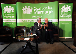 © Licensed to London News Pictures. 20/02/2012, London, UK. Left to Right LORD BRENNAN talks with GEORGE CAREY. George Carey, former Archbishop of Canterbury, attends the launch of a new campaign against same sex marriage today, 20 February 2012. Colin Hart, campaign director of the Coalition for Marriage, who have published a report saying the British public reject gay marriage, chaired a press conference at One Great George Street, Westminster. Photo credit : Stephen Simpson/LNP