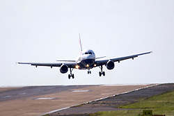 © Licensed to London News Pictures. 07/06/2017. Leeds UK. A British Airways aircraft struggles to land in heavy winds at England's highest airport, Leeds Bradford airport today. Photo credit: Andrew McCaren/LNP